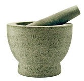 Mortar and pestle of stone on white Royalty Free Stock Photos
