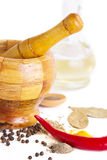 Mortar with pestle, variety of spices and oil Stock Images