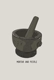 Mortar and pestle in a wreath of spices and herbs, hand-drawn ve Royalty Free Stock Photo
