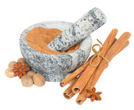 Mortar with powdered nutmeg and spices Stock Image