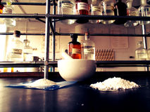 Mortar and powders in a farmaceutical laboratory Royalty Free Stock Images