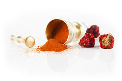 Mortar and red hot pepper Stock Photos