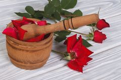 Mortar with rose petals and a red flower Royalty Free Stock Images