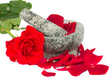 Mortar with rose  and petals Royalty Free Stock Images