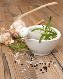 Mortar With Rosemary Stock Image