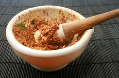 Mortar with Sambal Belacan Stock Photos