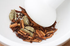 Mortar with Spices Stock Image