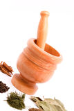 Mortar and spices Stock Image