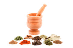 Mortar and spices Stock Images