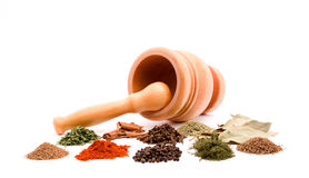 Mortar and spices Royalty Free Stock Photography