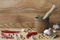 Mortar and spices Stock Photos