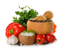 Mortar with spices and vegetables Royalty Free Stock Photos