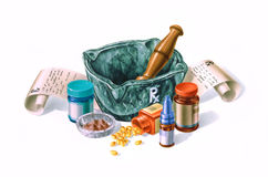 Mortar surrounded by drugs, medicines and prescriptions. Royalty Free Stock Photo