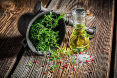 Mortar with vivid herbs and spices Stock Photo