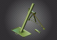 Mortar weapon isometric vector military. Mortar military weapon isometric flat vector 3d illustration  on white background Royalty Free Stock Photos