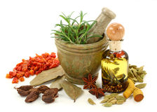 Mortar With Spices Royalty Free Stock Image