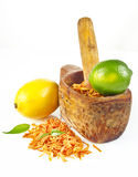 Mortar with zest of orange, lemon and lime Stock Image