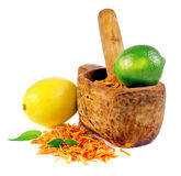 Mortar with a zest of orange, lemon and lime Stock Image