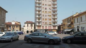 Mortara, Italy - circa May 2016: Cars parked in Piazza Silvabella.  stock video footage
