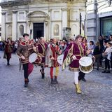 Medieval drum players. Color image. Mortara, Italy - September 24, 2017: some drum players, dressed in Reinassance costumes, parade through the streets of Stock Photos