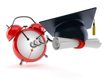 Mortarboard with alarm clock. Isolated on white background Royalty Free Stock Images
