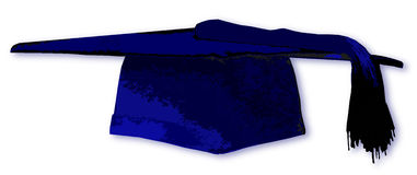 Mortarboard In Blue Stock Photos