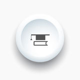 Mortarboard with book icon on a white 3D button Stock Images