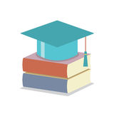 Mortarboard With Books Education Concept. Vector illustration Stock Photos