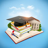 Mortarboard. Books and university building on a opened book. Education Royalty Free Stock Image