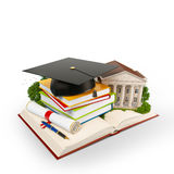 Mortarboard. Books and university building on a opened book. Education. Isolated Royalty Free Stock Photo
