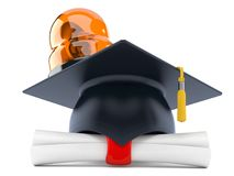 Mortarboard with certificate and emergency siren Royalty Free Stock Photos