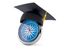 Mortarboard with compass. On white background Royalty Free Stock Photo