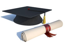 Mortarboard and diploma Stock Photos