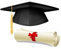 Mortarboard and diploma. Black graduation cap, mortarboard and diploma scroll, made with gradient mesh Royalty Free Stock Image
