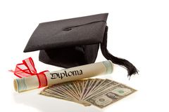 Mortarboard and dollars. education costs. Mortarboard and dollars. symbol for education costs in america Stock Images