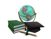 Mortarboard with Globe and Books Royalty Free Stock Photography