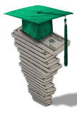 Mortarboard hat on money stack. Green mortarboard or square academic hat on tall stack of 100 dollar bills; high cost of education concept Stock Images