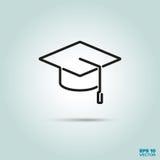 Mortarboard line icon. Mortarboard graduation hat Line Icon Vector Stock Images