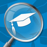 Mortarboard Magnifier Shows Magnifying Hat And Bachelor Stock Photos