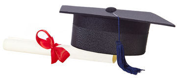 Mortarboard and parchment certificate isolated Stock Image