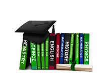 Mortarboard with Scroll and  Row of Books. Over White Stock Images