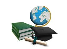 Mortarboard with Scroll and Stack of Books. Over white Royalty Free Stock Images