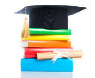 Mortarboard and vintage graduation scroll Stock Photos
