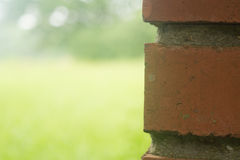 Mortared brick outdoors. Close up photo of red brick with mortar outdoors in spring or summer Royalty Free Stock Image