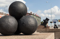Mortars with nuclei at Arsenal Embankment. St. Petersburg. Royalty Free Stock Photos