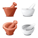Mortars and pestles in two views on white Stock Image
