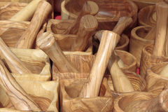 Mortars and wooden pestles Royalty Free Stock Photo
