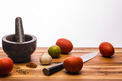 Mortar and Pestle with Ingredients Stock Photography