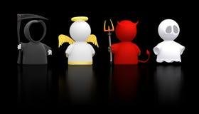 Morte, angelo, diavolo e fantasma - versione nera Fotografie Stock Libere da Diritti