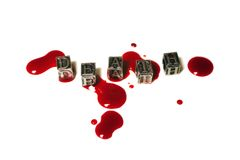 Morte da palavra do metal nas gotas de sangue Imagens de Stock